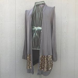[Hearts] Brown Gold Sequin Long Cardigan Sweater M